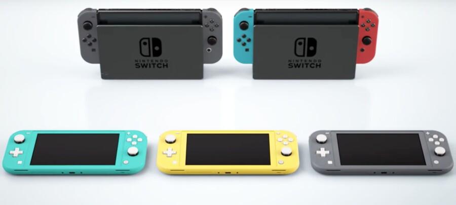 Den nye Nintendo Switch Lite vil være billigere og mere kompakt end sin forgænger, og den vil kunne fås i farverne gul, grå og turkis. På billedet ses Nintendo Switch Lite sammenlignet med den originale Nintendo Switch.