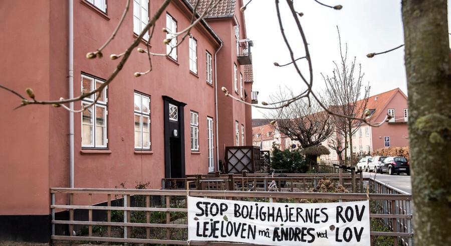 Den Sønderjyske Landsby på Frederiksberg, hvor beboerne protesterer mod kapitalfonden Blackstone, der ejer ejendomsselskabet 360 North.