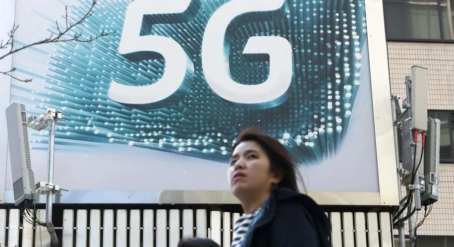 Der er store reklamer for 5G-mobilteknologien i den sydkoreanske hovedstad Seoul, men mange sydkoreanere er skuffet over kvaliteten. Arkivfoto: Yeon-Je Jung, AFP/Ritzau Scanpix