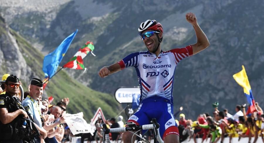 Thibaut Pinot fik med sin sejr på Tourmalet vist, at han stadig er i spil til den samlede sejr på en dag, hvor flere af forhåndfavoritterne mistede tid. Foto: Anne-Christine Poujoulat/AFP/Ritzau Scanpix