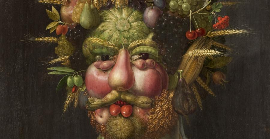 Giuseppe Arcimboldi var maler i renæsssancen og malede mennesker som mad. »Vertumnus« her er for eksempel fra 1591 og hænger på Skoklosters slott i det østlige Sverige.