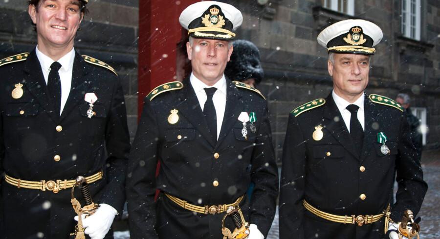 John Vestergaard (t.v.) takkede 21. januar 2019 Dronning Margrethe for udnævnelsen til politidirektør i Rigspolitiet. Nu er han blevet forflyttet.