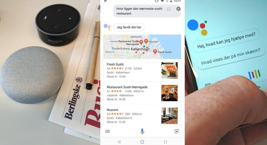 Google Home Mini, nederst t.v., har Googles talegenkendelsessoftware Assistent indbygget, så man kan bede den udføre kommandoer såsom at finde den nærmeste sushirestaurant. Softwaren skriver spørgsmålet ud, og derfor har Google brug for, at der er nogen, som sidder og kontrollerer, at talegenkendelsen er korrekt, så kommandoen udføres rigtigt.