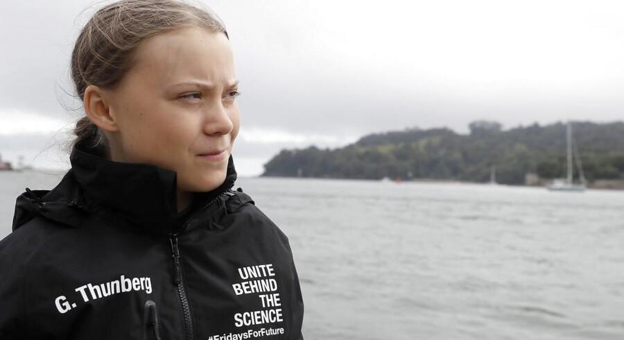 »I dag genkender vi den frygt i Greta Thunbergs triste øjne, der er blevet et symbol på global rædsel, og den konservative stemme vil noget andet,« skriver Sørine Gotfredsen. På billedet: Greta Thunberg. Foto: Kirsty Wigglesworth / POOL / AFP