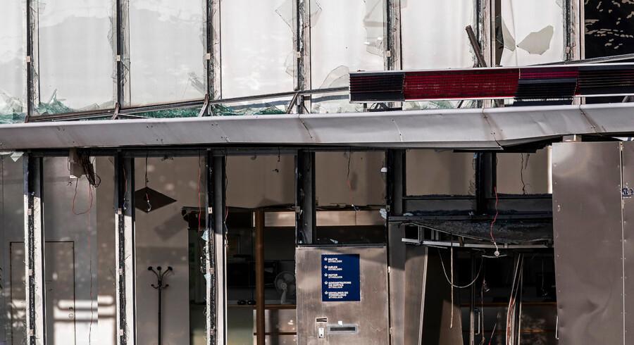 eksplosion foran Skattestyrelsen på Østerbro i København Indgangspartiet foran Skattestyrelsen pÃ¥ Ã?sterbro i København, onsdag den 7. august 2019. Tirsdag aften fik politiet meldinger om en kraftig eksplosion i nærheden af Nordhavn Station. Politiet bekræfter, at der har været tale om en kraftig eksplosion foran Skattestyrelsen.. (Foto: Ã?lafur Steinar Rye Gestsson/Ritzau Scanpix)