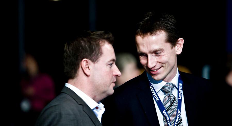 Jens Rohde (tv.) opfordrede i 2014 Kristian Jensen (th.) til at stille op mod Lars Løkke Rasmussen til formandsposten for Venstre. Arkivfoto: Lars Skaaning/Polfoto