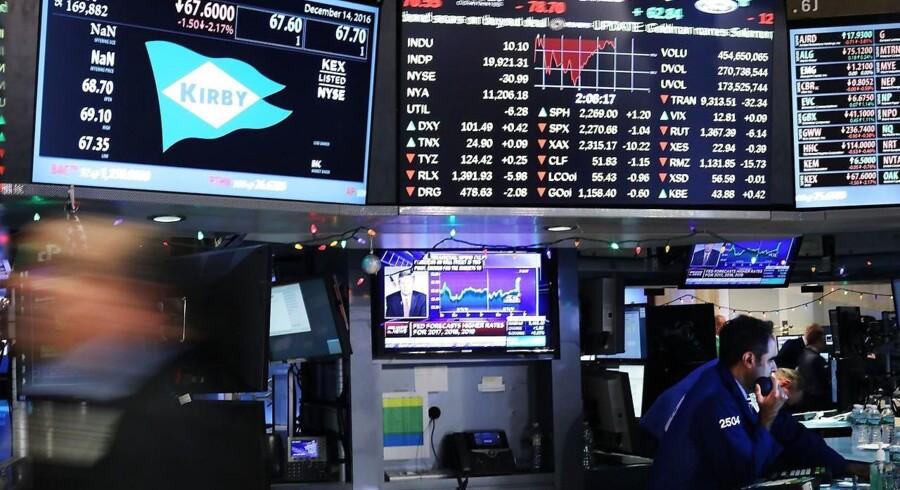 Arkivfoto. De amerikanske aktieejere fik omkring halvdelen af onsdagens tab tilbage torsdag, hvor markedet igen vejrede morgenstemning efter onsdagens nedtur i kølvandet af centralbankens, Federal Reserves, renteforhøjelse.