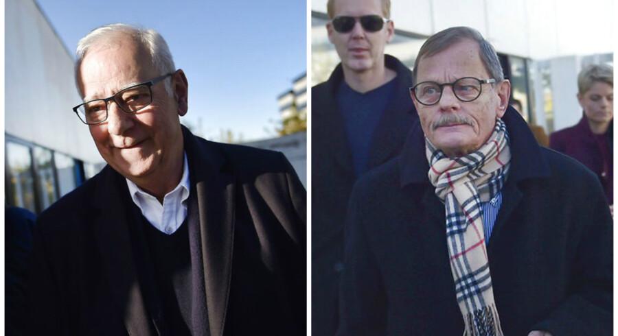 Tirsdag blev blandt andre Roskilde Banks tidligere bestyrelsesformand Peter Müller (tv.) og næstformand Niels Kryger (th.) frikendt for ansvar i forbindelse med bankens krak i 2008. FOTO: Thomas Lekfeldt