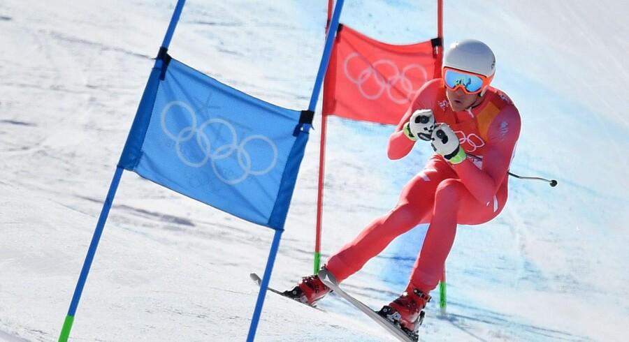 Christoffer Faarup sluttede sin OL-deltagelse med 32.-plads i super-G. Scanpix/Dimitar Dilkoff