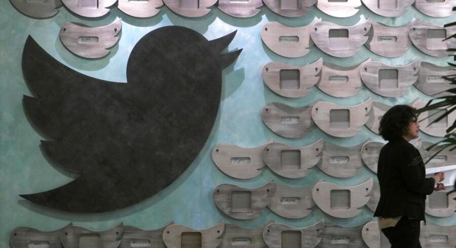 Twitters karakteristiske fugl ved virksomhedens kontorer i Santa Monica, Californien.