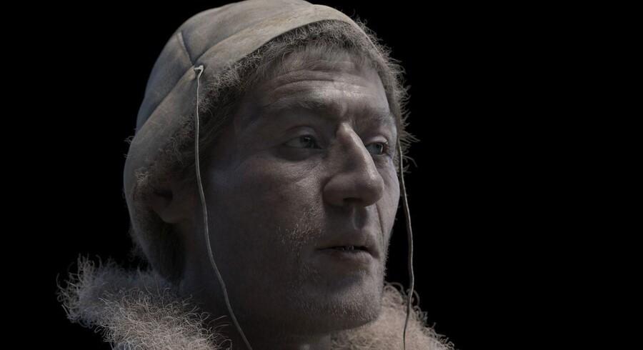 Tollundmandens ansigt er blevet digitalt rekonstrueret, så man nu kan kigge ham i øjnene på Museum Silkeborg. Det skriver Ritzau, søndag den 18. marts 2018. Foto: Rekonstruktion, Phillippe Froesch All rights Museum Silkeborg/Scanpix 2018