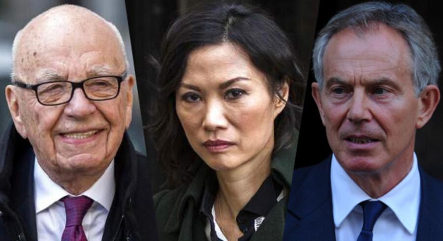 Avismogulen Rupert Murdoch (t.v.) og hans nyligt fraskilte kone, Wendi Deng, er sammen med tidligere Labour-premierminisgter Tony Blair (t.h.) blevet indrullet i en skandalesag i Storbritannien, der omfatter uvenskab, skilsmisse og mistanke om utroskab.
