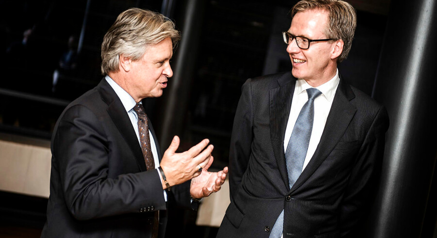 Koncernchef Casper von Koskull (til venstre) og vicekoncernchef Torsten Hagen Jørgensen (til højre) har ansat 49-årige Frank Vang-Jensen som ny landechef for Nordea i Danmark.
