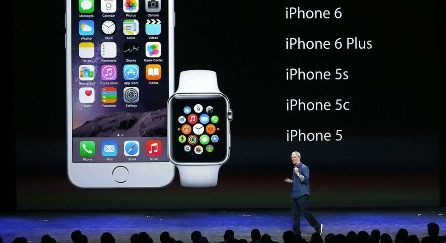 Apples smartur, Apple Watch, kommer i tre modeller til april og virker kun sammen med nyere iPhone-telefoner. Arkivfoto: Justin Sullivan, Getty Images/AFP/Scanpix