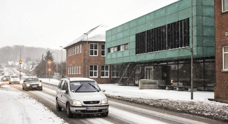 Mølleskolen, hvor de forbrændte offer og de fire formodede gerningsmænd gik i skole, fotograferet d. 8. februar 2017.