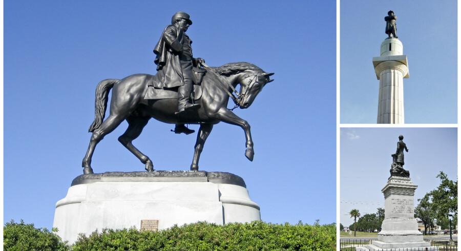De tre statuer skal fjernes i anledning af jubilæet for afskaffelsen af slaveriet. General Beauregard (til hest) Robert E. Lee (øverst th) og Jefferson Davis (nederst th) Kredit: Infrogmation @ Creative Commons
