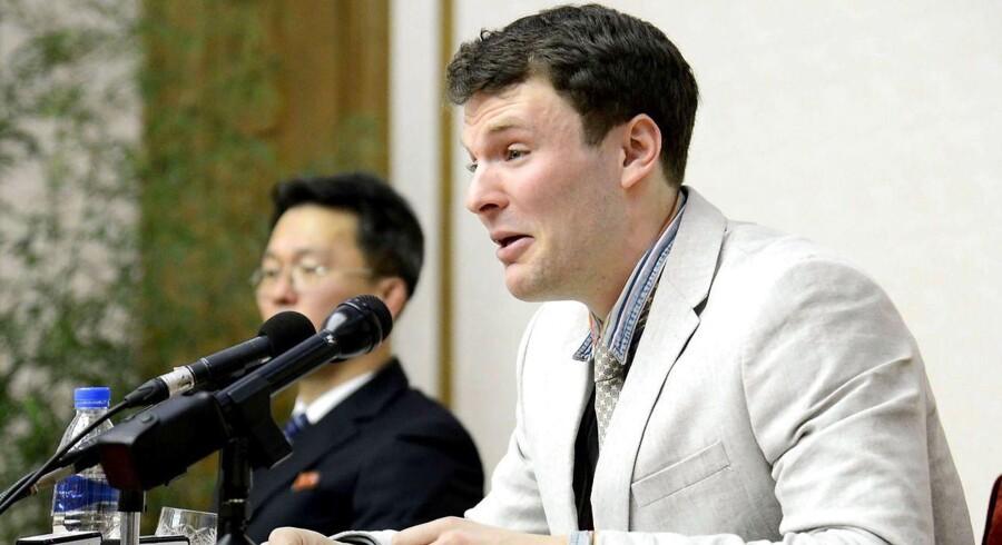 Otto Frederick Warmbier har indrømmet, at han under sit ophold i Nordkorea fjernede en politisk plakat fra et hotel i hovedstaden Pyongyang. Straffen: 15 års strafarbejde.
