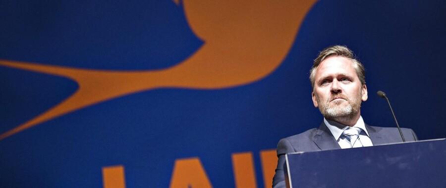 Liberal Alliance holdt lørdag landsmøde i Aalborg Kongres og Kulturcenter. Her ses partileder Anders Samuelsen på talerstolen.