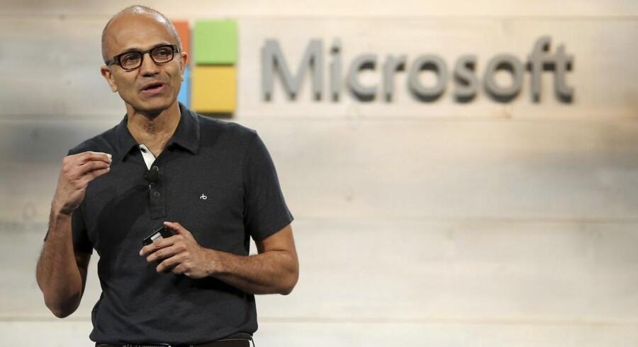 Tirsdag: Det er nu et år siden, at Satya Nadella overtog ledelsen af Microsoft og dermed omstillingen mod nye tider. Trods god indtjening bliver det store skud i kanonen den kommende Windows 10, som for alvor skal vende skuden for verdens største softwarevirksomhed. Arkivfoto: Robert Galbraith, Reuters/Scanpix