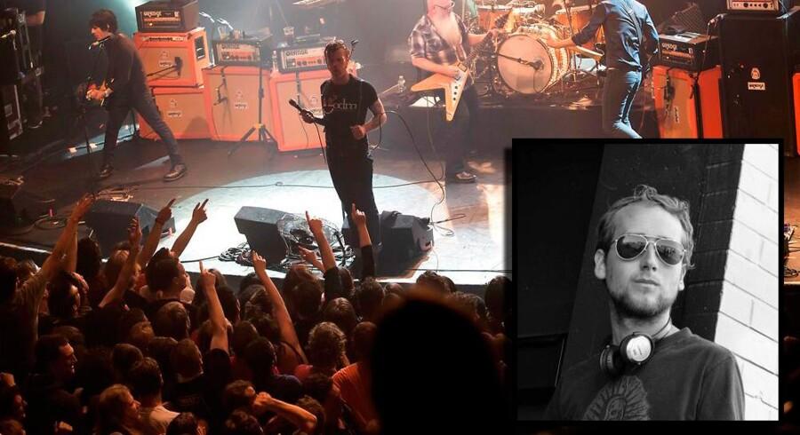 Francois stod oppe foran til koncerten med Eagles of Death Metal på spillestedet Bataclan i paris 13. november 2015. Billedet af koncerten er taget lige inden terrorister angriber stedet.