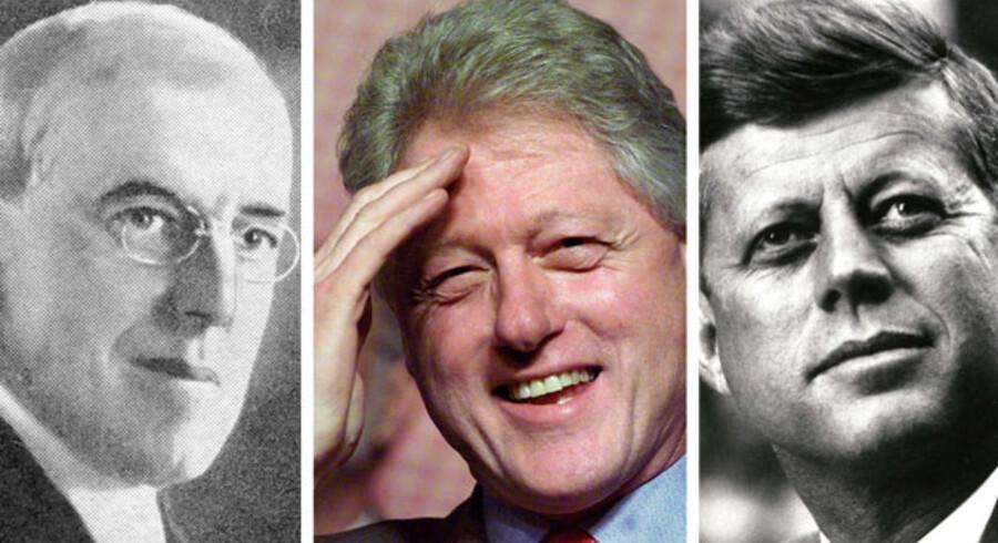De tre mest intelligente amerikanske præsidenter i moderne tid er fra venstre: Woodrow Wilson, Bille Clinton og John F. Kennedy.