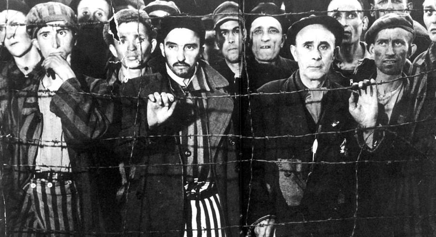 Jødiske fanger ved befrielsen. Arkivfoto: Scanpix