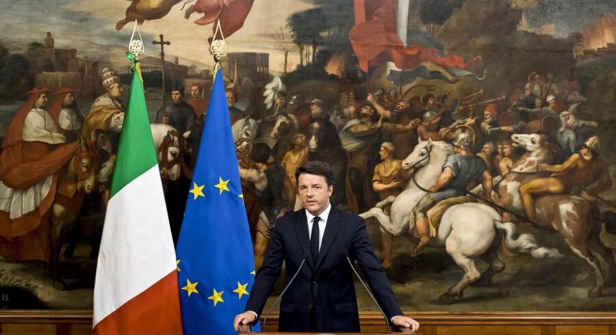 Italiens premierminister, Matteo Renzi, er klar til kamp om euroen: Han kan blive de sydeuropæiske eurolandes uofficielle leder i et oprør mod landene i nord. Foto: Claudio Peri
