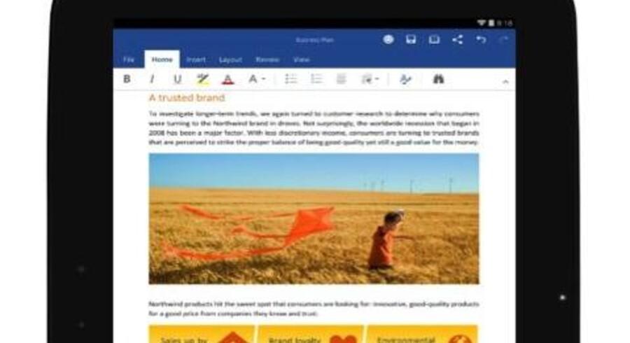 Nu er Word (billedet), Excel og Powerpoint klar til tavle-PCer med Android, og Microsoft har gjort det gratis at anvende dem. Foto: Microsoft