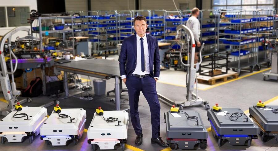 Adm. direktør i Mobile Industrial Robots, Thomas Visti, har en god dag. Robotfirmaet er nemlig netop blevet solgt for 1,7 mia. kr.