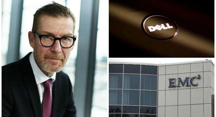 Dells opkøb af konkurrenten EMC skabte forleden et nyt, stort selskab, også i Danmark, hvor Dells landechef, Lars Baun Jensen (til venstre), sammen med sin EMC-kollega nu skal skrue fremtiden sammen - med fokus på at vokse. Fotos: Dell og Scanpix