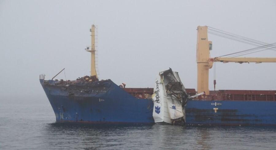 To skibe er tirsdag kollideret i Storebælt. Free/Forsvaret