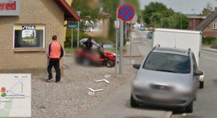 To tyveknægte fotograferet af Google Street-View, mens de er i gang med at stjæle en havetraktor fra Jørgen Petersen Maskinforretning i Rinkenæs. Foto fra Google Street View