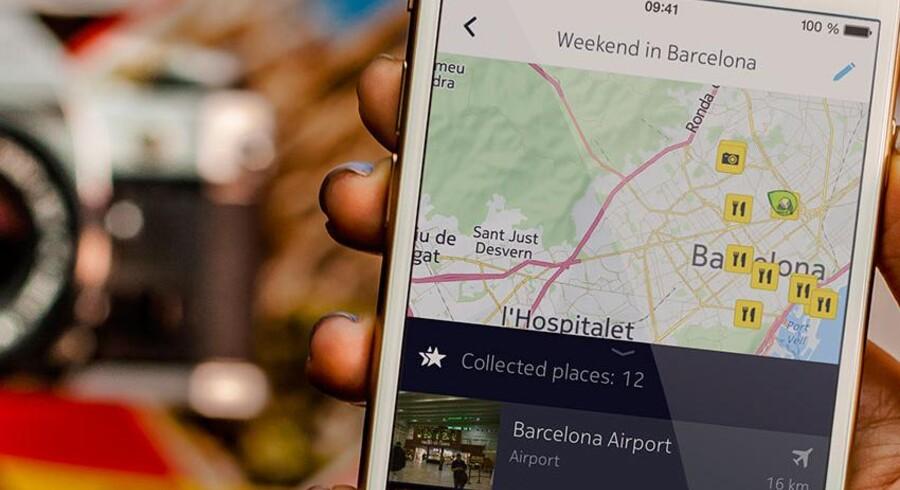 Nokia har i marts 2015 lanceret sin korttjeneste, Here, til også iPhone-telefoner og iPad-tavlecomputere. Nokias kort kan, modsat mange konkurrenter, hentes ned, så man ikke skal bruge dyr dataforbindelse for at navigere frem til målet. Foto: Nokia