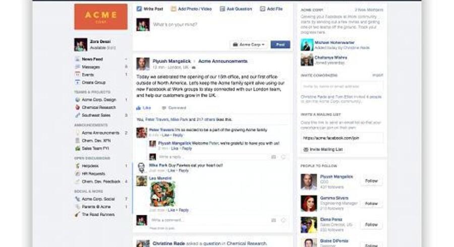 Sådan ruller seneste nyt ind på Facebook at Work, som i stort omfang minder om det Facebook, som mange kender. Foto: Facebook