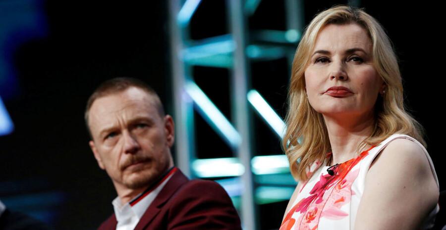 Skuespillerne Ben Daniels og Geena Davis ved præsentationen af TV-serien »The Exorcist« forleden i Los Angeles. Foto: REUTERS/Mario Anzuoni