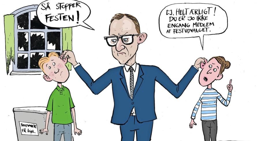 BMINTERN - Illustration til artikel om uroligheder ved fest pÔø? Statskundskab pÔø? KU.