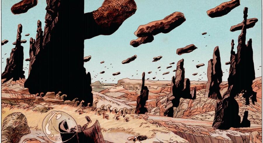 Drukmåsen René (nederst i billedet) lander på fængselsplaneten Wala Walla. Problemerne er kun lige begyndt i Manu Larcenets »Jakolassens rustning«.