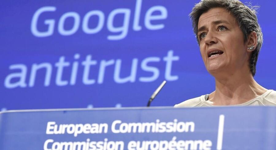 Margrethe Vestager vil som EUs konkurrencekommissær angiveligt udskrive den største konkurrencebøde i EUs historie i næste uge. Modtageren bliver Google i en seks år gammel sag. Arkivfoto: John Thys, AFP/Scanpix