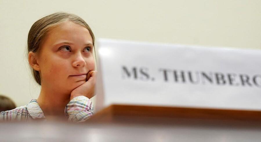 Greta Thunberg under den amerikanske kongreshøring, hvor hun gentog sin indtrængende opfordring om at lytte til videnskaben.