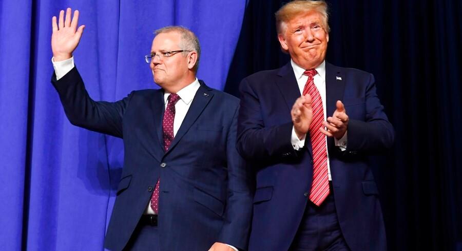 USAs præsident, Donald Trump, har bedt Australiens premierminister, Scott Morrison, om hjælp til at undersøge den mand, der undersøgte Trump og hans stab i to år. Arkivfoto: Saul Loeb/AFP/Ritzau Scanpix