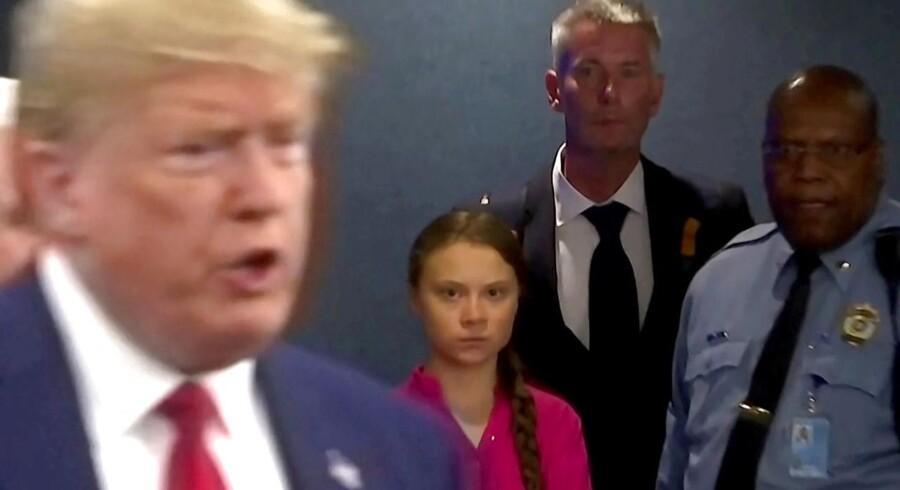 »Lige præcis i det stykke minder hun faktisk om en anden figur på verdensscenen. Nemlig USAs præsident Donald Trump, der også gør alle anliggender til et spørgsmål om sin person.« REUTERS/Andrew Hofstetter TPX IMAGES OF THE DAY