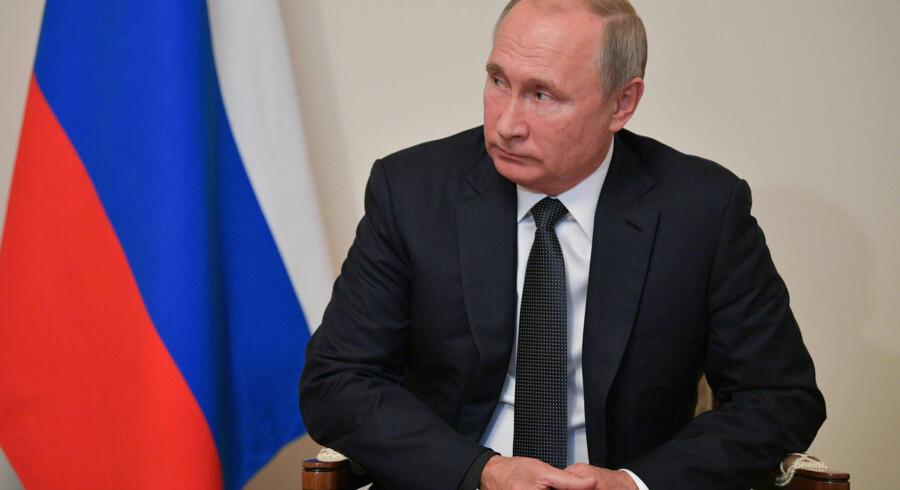 Ruslands præsident, Vladimir Putin, siger, at Danmark er under pres i forbindelse med gasrørledningen Nord Steam 2. (Arkivfoto) Alexei Druzhinin/Ritzau Scanpix
