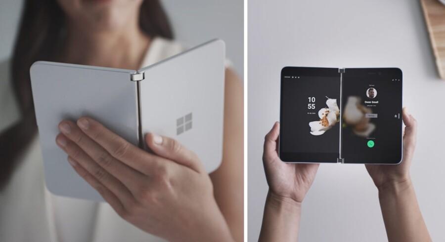 Sådan ser den ud, den nye Surface Duo-smartphone med dobbeltskærm fra Microsoft. Den kommer først til næste år men bliver Microsofts comeback på mobilmarkedet. Foto: Microsoft