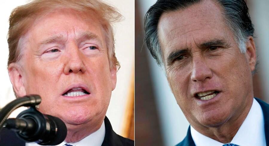 Republikanernes tidligere præsidentkandidat i 2012, Mitt Romney, har tidligere kritiseret Donald Trump i skarpe vendinger for ikke at have »rejst sig« til det amerikanske præsidentskabs værdighed. Nu kalder han Trumps fremfærd over for Ukraine og Kina, som præsidenten har bedt om at efterforske sin største rival, Joe Biden, for »forkert og rystende«. (Photos by Drew Angerer and Mandel NGAN / AFP)