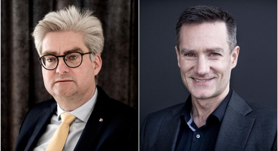 De Konservatives Rasmus Jarlov (th.) og Venstre-manden Søren Pind (tv.) kastede mandag spydigheder efter hinanden. Arkivfoto: Linda Kastrup og Liselotte Sabroe/Ritzau Scanpix