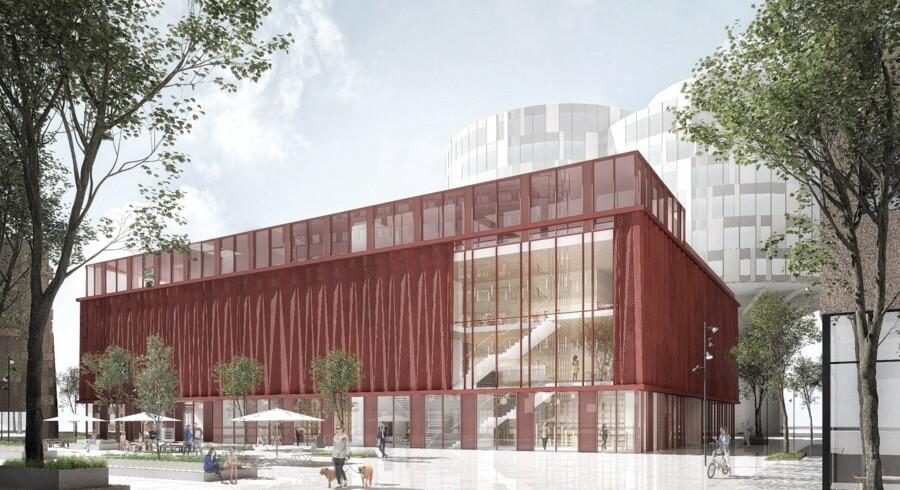 Big Bio i Nordhavn kommer både til at fungere som biograf og som et sted, hvor man kan holde møder eller slå sig ned og arbejde. Bygningen står til at få en guldcertificering, blandt andet fordi den er bygget, så den nemt kan bruges til andre formål, hvis Nordhavn en dag ikke længere har brug for en biograf. Rendering: NREP