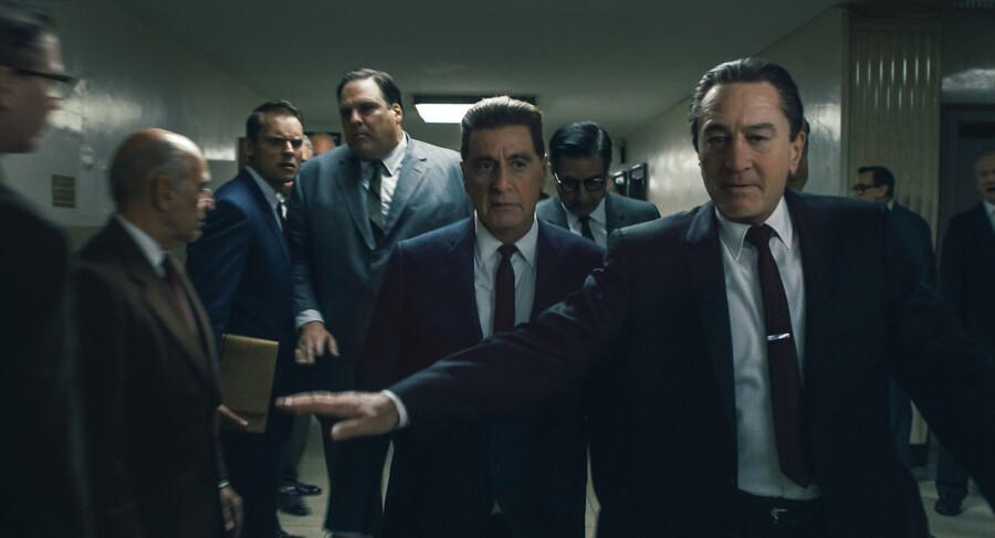 Frank Sheeran (Robert De Niro, til højre) bliver håndlanger for fagforeningsbossen Jimmy Hoffa (Al Pacino).