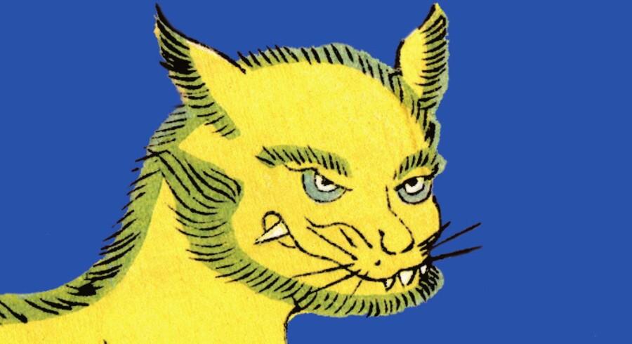Hovedpersonen i »Bulgakovs kat«, bliver elsker med den sjofle kæmpekat, Behemot! Behemot er en figur der oprindeligt optræder i romanen »Mesteren og Margarita« af Mikhail Bulgkov, skrevet i perioden 1928-1940. Foto: Udsnit af forsiden af »Bulgakovs kat«.