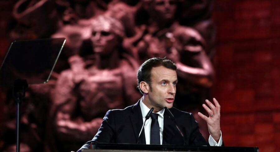 Emmanuel Macron holder tale ved World Holocaust Forum i Jerusalem.