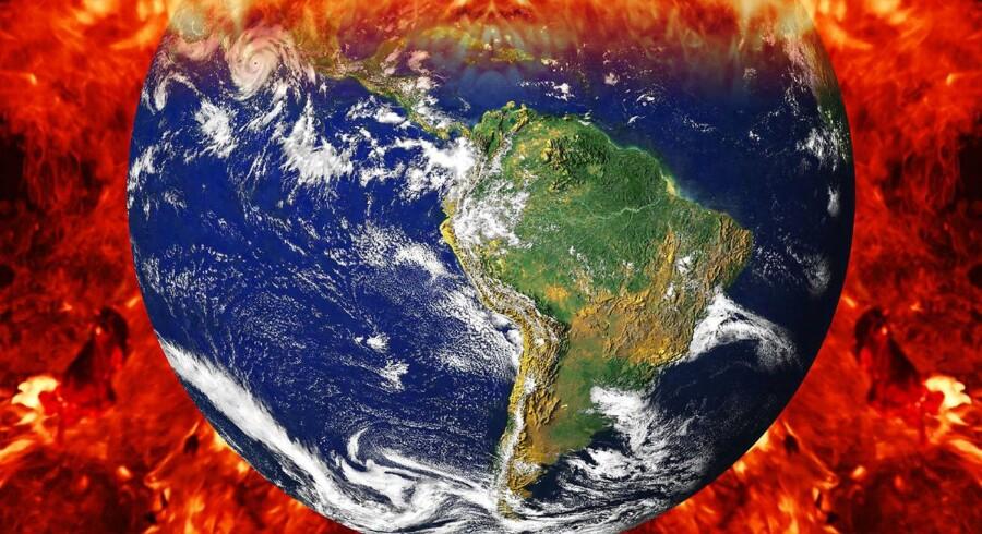 Nej, vores klode kommer ikke til at gå under af ekstrem global opvarmning, beroliger en række førende klimaforskere. Klimadommedagen er ganske enkelt ikke realistisk. Illustration: Rolf Georg Brenner